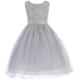 Flower Girl Dress Glitter Sequin Top & Rhinestone Sash Silver JK 3670