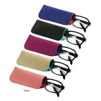 JAVOedge (5 PACK) 2 Tone Style Soft Pouch Eyeglass Storage Case w/ Microfiber Eyeglasses Cloth (5 Colors Set)