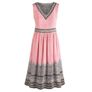Women's Renee Border Print Dress - Pink V-Neck Sleeveless Ankle Length