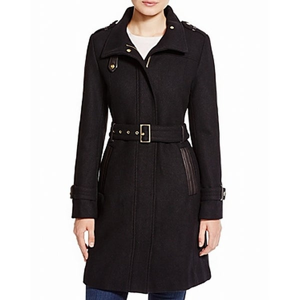Cole Haan Black Women's 8 Belted Hooded Stand Collar Wool Coat