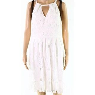 Adrianna Papell Womens Crochet-Lace Sheath Dress