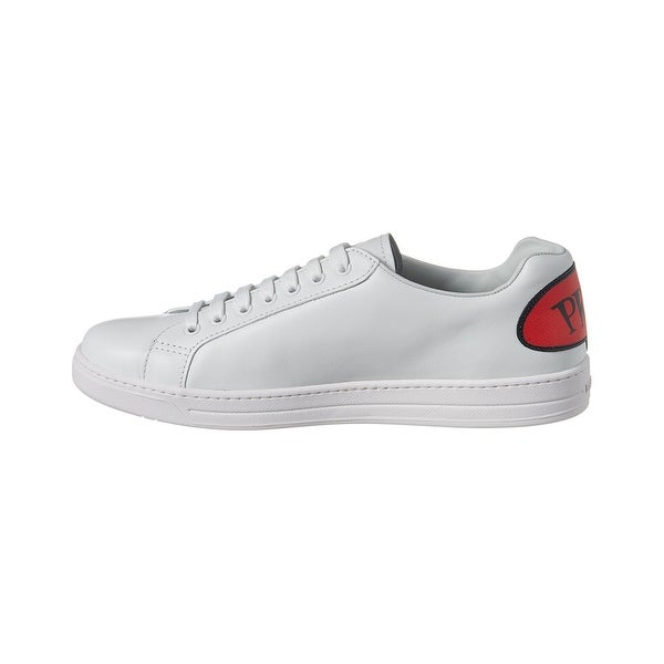 Shop Prada Comic Stamp Leather Sneaker On Sale Free