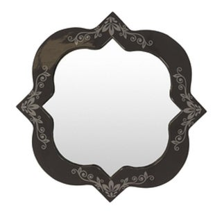 "27.5"" Navy and Gray Contemporary Scrolls and Florals Square Mirror"