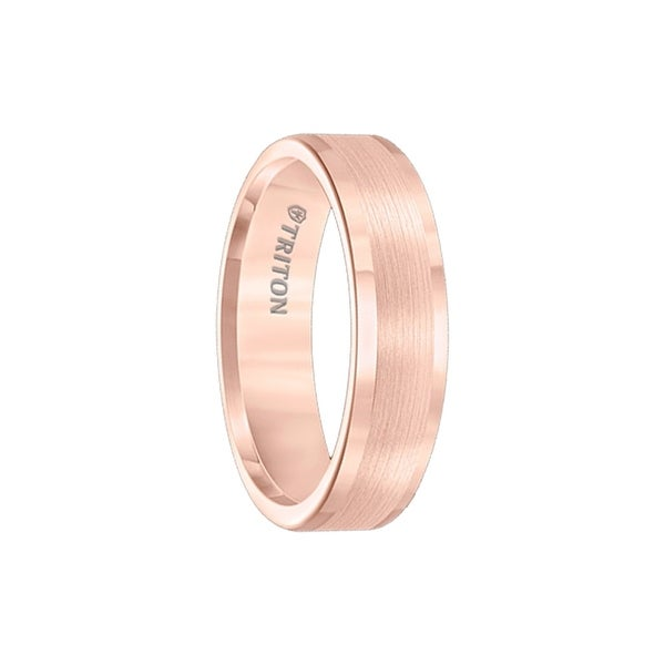 MOSCHATA Satin Finished Rose Gold Plated Tungsten Ring with Polished Edges by Triton Rings - 6mm