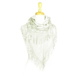 Women's Lightweight Fancy Triangle Lace Scarf with Floral