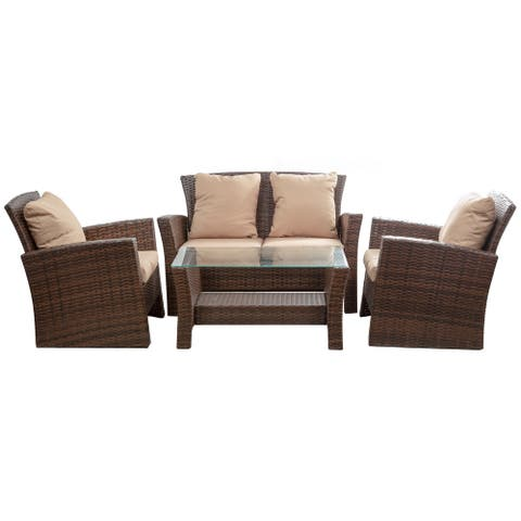 BELLEZE Brasillia Outdoor 4 Pcs Patio Conversation Set Wicker Rattan Sectional Sofa With Cushions & Coffee Table - 4-Piece Sets