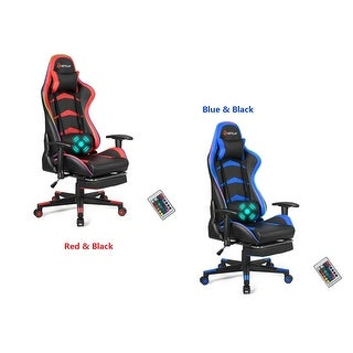 Goplus Massage LED Gaming Chair Reclining Racing Chair w/Lumbar Support&Footrest RedBlue