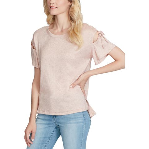 Jessica Simpson Womens Aria Knit Top Tie Shoulder Pullover