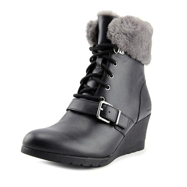 fa8a49f29b6 Ugg Australia JANNEY Women Round Toe Leather Black Ankle Boot
