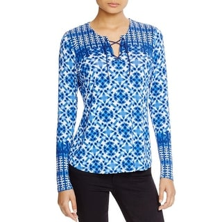 NYDJ Womens Casual Top Jersey Printed
