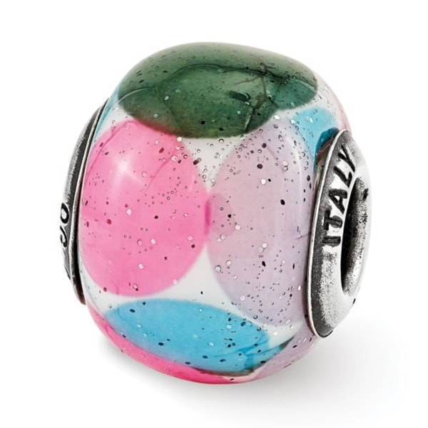 Italian Sterling Silver Reflections Green/Blue/Pink/Purple with Glitter Glass Bead (4mm Diameter Hole)