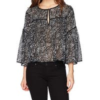 Lucky Brand Black Women's Size Small S Keyhole Printed Blouse