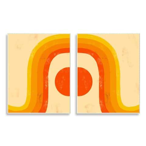 Stupell Industries Sun Setting Under Warm Tone Rainbow Geometric Shapes Wood Wall Art,10 x 15 - Orange