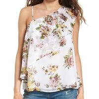 Leith Pink Women's Floral One Shoulder Ruffle Top