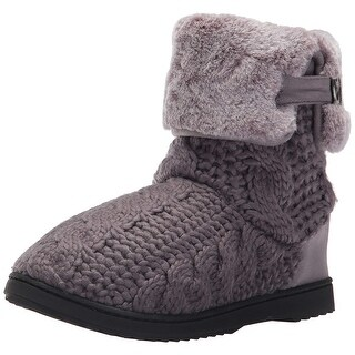 Dearfoams Womens Cable Knit Boot Closed Toe Ankle Fashion Boots - 5-6 us womans