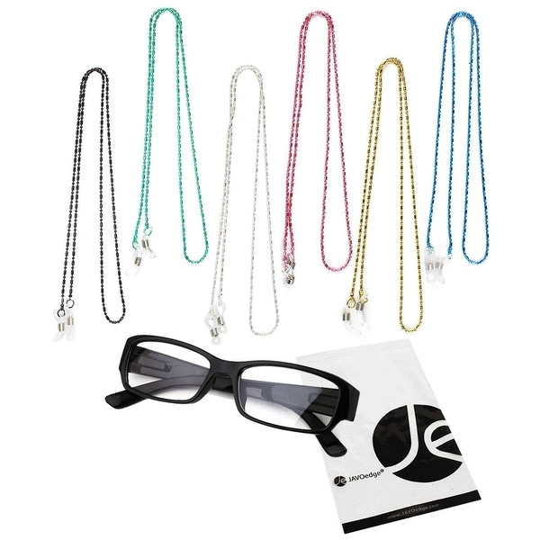 JAVOedge 6 Pack of Decorative Beaded Eyeglasses/ Glasses Lanyard (Black, Silver, Blue, Pink, Green, Yellow)