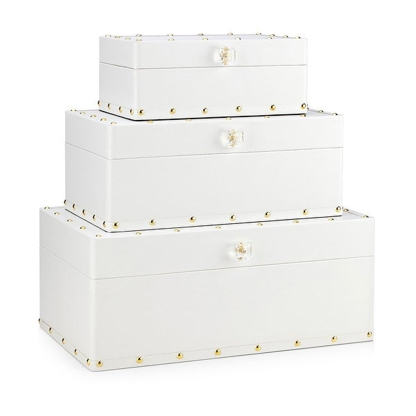 "Set of 3 White Minimalist Style Wooden Boxes 19"" - N/A"