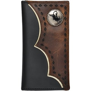 3D Western Wallet Boys Kids Leather Overlay Feathered Black
