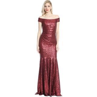 Badgley Mischka Womens Evening Dress Off The Shoulder Sequined
