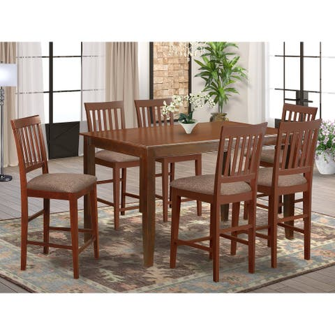 East West Furniture Modern 7-piece Counter Height Dining Set with Table and Chairs (Finish Option)