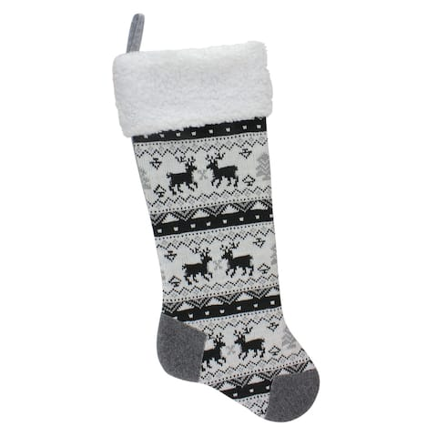 "21"" Black, Gray and White Rustic Lodge Knit Christmas Stocking with Sherpa Cuff"