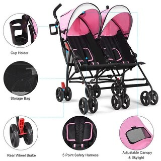 Baby-joy Foldable Twin Baby Double Stroller Kids Ultralight Umbrella Stroller Pushchair