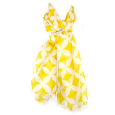 Indigo7 Authorized 100% Merino Yellow/Creme Scarf 25''x65'' - White,Yellow - 1''x15''x12''