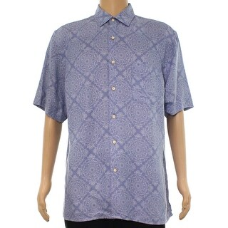 Tasso Elba Blue Mens Size Small S Button Down Mosaic Floral Shirt