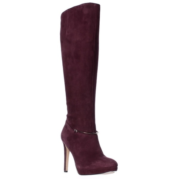 Nine West Pearson Wide-Calf Knee High Boots, Dark Red - 5.5 us