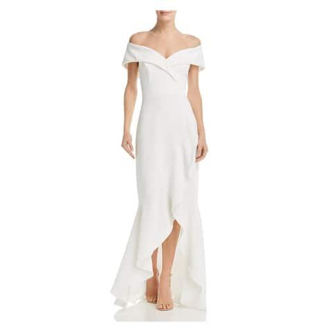 AQUA Womens Ivory Solid Full-Length Hi-Lo Formal Dress Size 6
