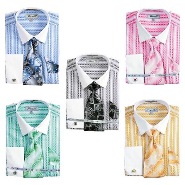 Men's Jacquard Two Tone French Cuff Shirt Cufflinks