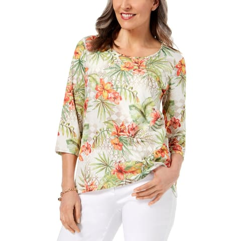 Alfred Dunner Womens Blouse Floral Tiered - S