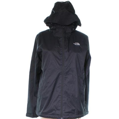 The North Face Womens Coat Black Size Large L Solid Full Zip Hooded