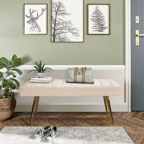 Furniture R Solid Color Velvet Standard Bench