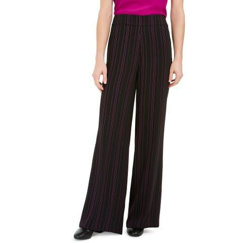 Bar III Women's Striped Wide Leg Pants Black Size 4