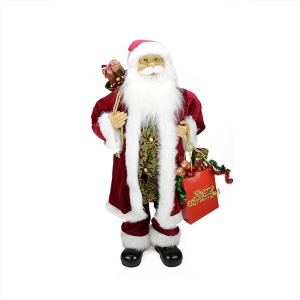 """36"""" Poinsettia Standing Santa Claus Figure with """"Merry Christmas"""" Gift Bag - RED"""