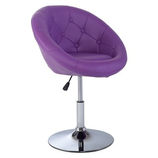 Costway 1PC Adjustable Modern Swivel Round Tufted Back Accent Chair PU Leather Purple