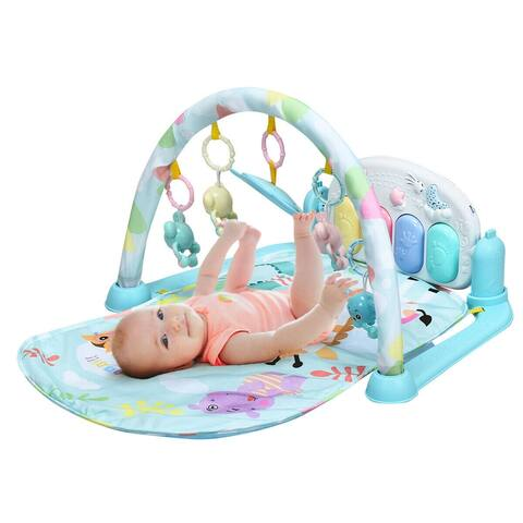 3 in 1 Fitness Music and Lights Baby Gym Play Mat - Blue