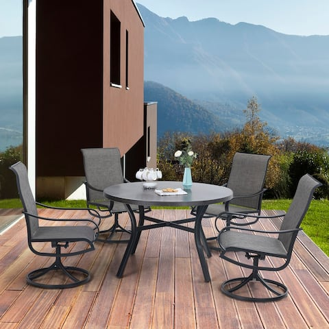 """MFSTUDIO 5 Pieces Dining Set,4 Sling Dining Swivel Chairs and 48"""" Round Metal Wood Grain Table with 2"""" Umbrella Hole"""