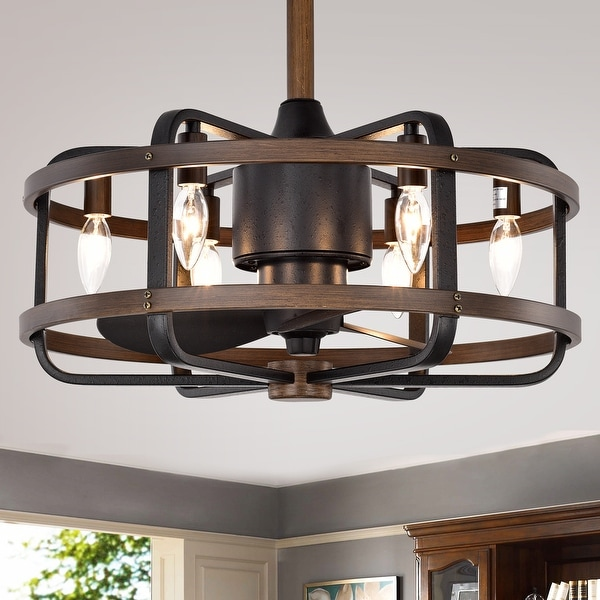 Carbon Loft Youngberg 3-blade Ceiling Fan with Caged Metal and Wood Frame (Includes Remote).. Opens flyout.