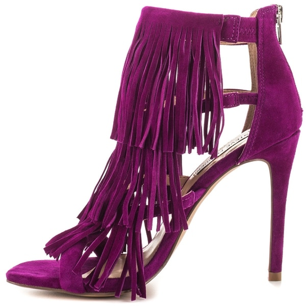 Steve Madden Womens Fringly Suede Open Toe Ankle Strap D-orsay Pumps