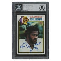 Earl Campbell Signed Slabbed 1979 Topps #390 RC HOF 91 Inscribed BGS