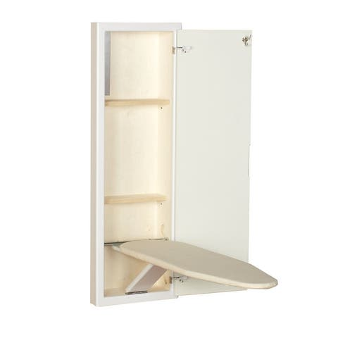 Household Essentials StowAway In-Wall Ironing Board Cabinet with Built in Ironing Board