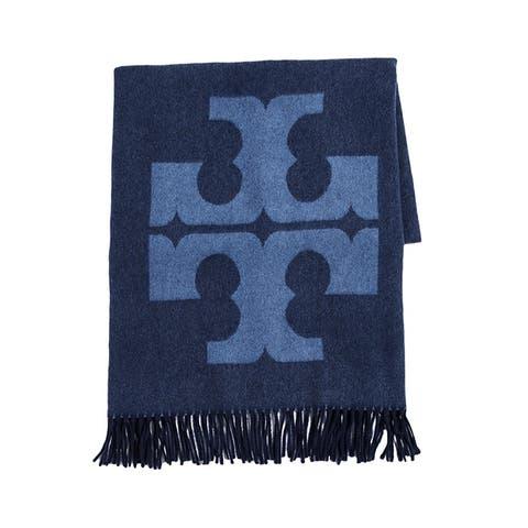 Tory Burch Women s Navy Blue Logo Oblong Wool Scarf