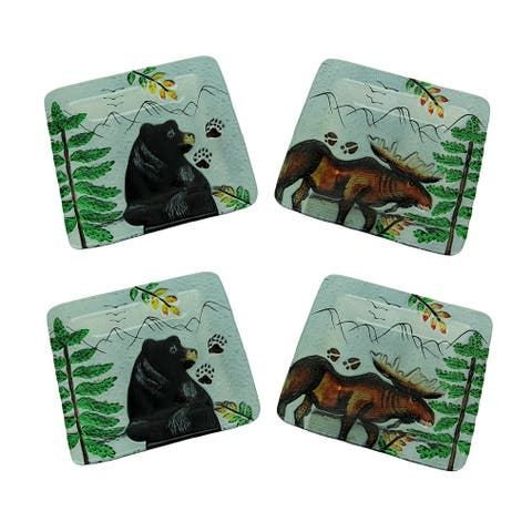 Set of 4 Lodge Black Bear and Moose Square Art Glass Salad Plates - 0.68 X 8 X 8 inches