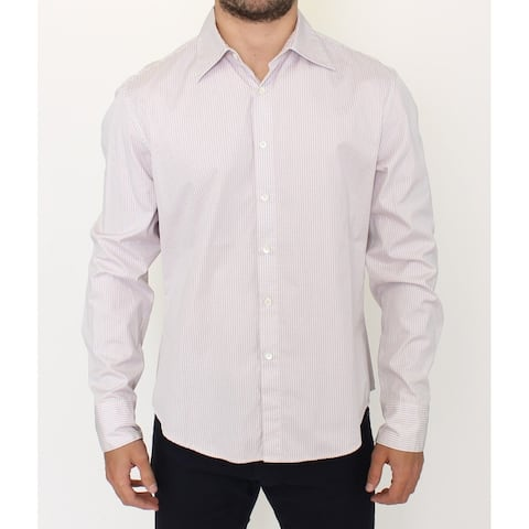 Ermanno Scervino Gray White Checkered Casual Long Sleeve Men's Shirt