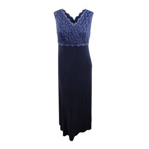 Alex Evenings Women's Plus Size Solid & Glitter Lace Surplice Gown - Navy
