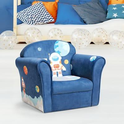 Fashion Upholstered Children Armrest Sofa w/ Astronaut Pattern