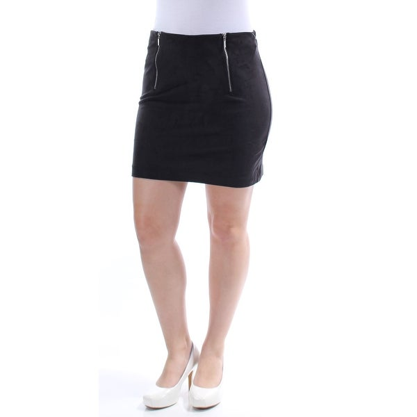 b7853f58ad2f1 Shop KENSIE Womens Black Faux Suede Zippered Mini Pencil Skirt Size  S - Free  Shipping On Orders Over  45 - Overstock.com - 24260431