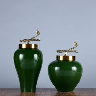 G Home Collection Luxury Green Solid Color Accent Porcelain Jar With Copper Lid